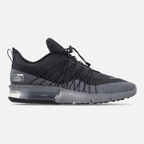 Right view of Men's Nike Air Max Sequent 4 Shield Running Shoes in Black/Metallic Silver/Dark Grey