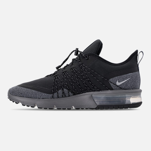 Left view of Men s Nike Air Max Sequent 4 Shield Casual Shoes in Black  Metallic 871922123