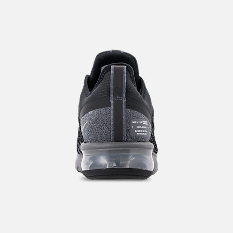 Back view of Men's Nike Air Max Sequent 4 Shield Running Shoes in Black/Metallic Silver/Dark Grey