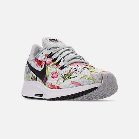 Three Quarter view of Women's Nike Air Zoom Pegasus 35 Graphic Running Shoes in Pure Platinum/Black/White