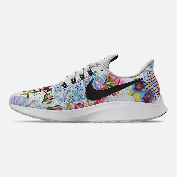 Left view of Women's Nike Air Zoom Pegasus 35 Graphic Running Shoes in Pure Platinum/Black/White