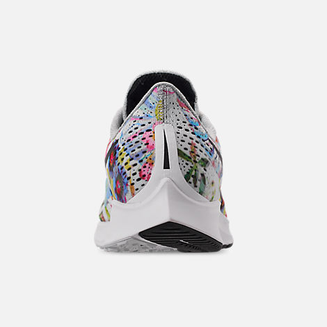 Back view of Women's Nike Air Zoom Pegasus 35 Graphic Running Shoes in Pure Platinum/Black/White