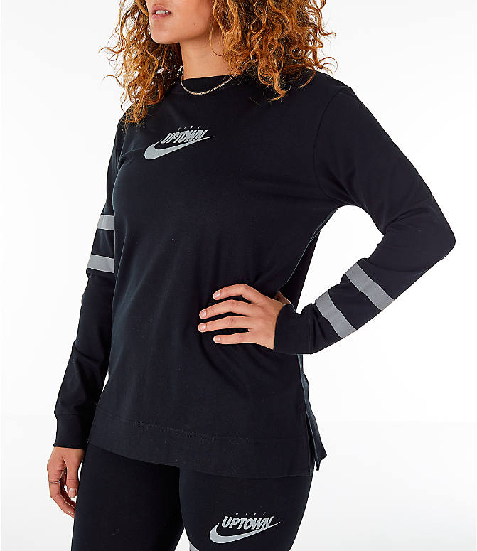 Front Three Quarter view of Women's Nike Sportswear Rox Brown Long Sleeve T-Shirt in Black/Silver