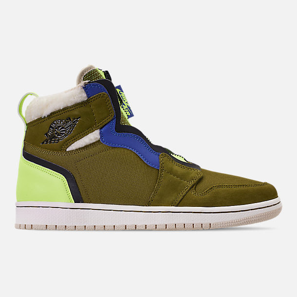 Right view of Women's Air Jordan 1 High Zip Casual Shoes in Olive Flak/Black/Volt Glow/Beach