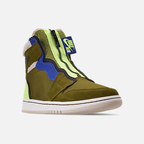 Three Quarter view of Women's Air Jordan 1 High Zip Casual Shoes in Olive Flak/Black/Volt Glow/Beach