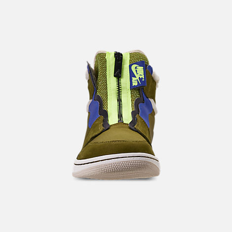 Front view of Women's Air Jordan 1 High Zip Casual Shoes in Olive Flak/Black/Volt Glow/Beach