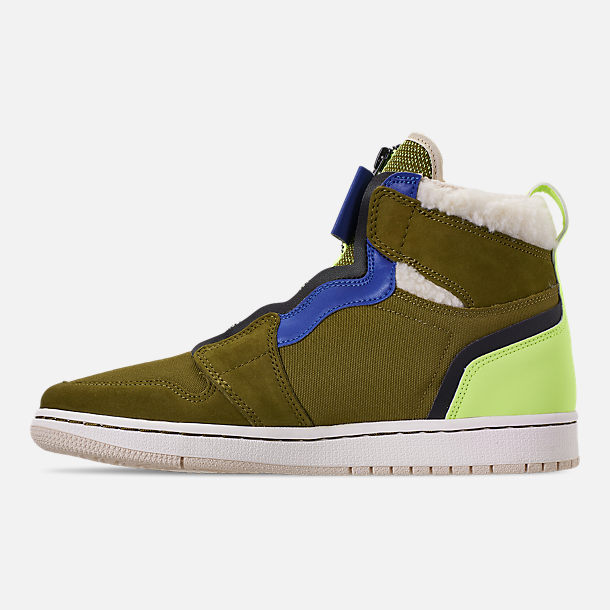 Left view of Women's Air Jordan 1 High Zip Casual Shoes in Olive Flak/Black/Volt Glow/Beach