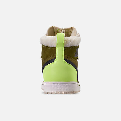 Back view of Women's Air Jordan 1 High Zip Casual Shoes in Olive Flak/Black/Volt Glow/Beach