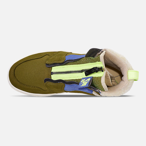 Top view of Women's Air Jordan 1 High Zip Casual Shoes in Olive Flak/Black/Volt Glow/Beach