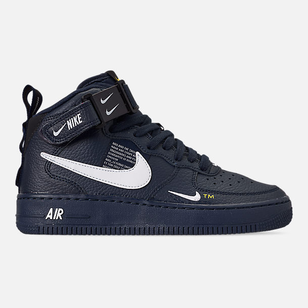 Right view of Boys' Big Kids' Nike Air Force 1 Mid LV8 Leather Casual Shoes in Obsidian/White/Black/Tour Yellow