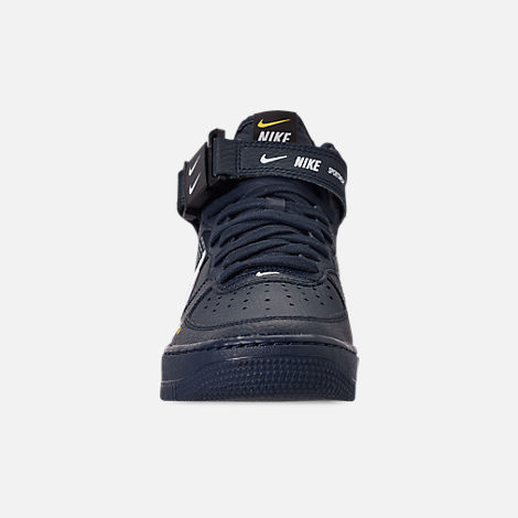 Front view of Boys' Big Kids' Nike Air Force 1 Mid LV8 Leather Casual Shoes in Obsidian/White/Black/Tour Yellow