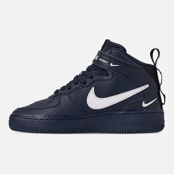 Left view of Boys' Big Kids' Nike Air Force 1 Mid LV8 Leather Casual Shoes in Obsidian/White/Black/Tour Yellow