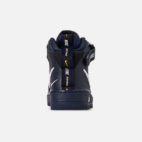 Back view of Boys' Big Kids' Nike Air Force 1 Mid LV8 Leather Casual Shoes in Obsidian/White/Black/Tour Yellow