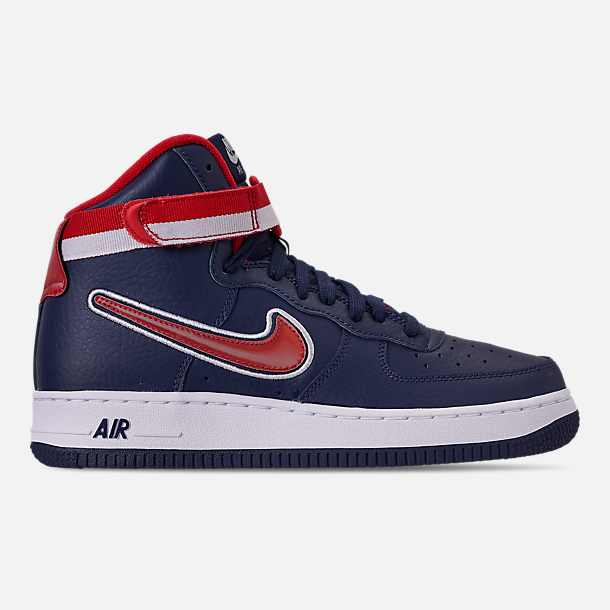 Right view of Boys' Big Kids' Nike Air Force 1 '07 High LV8 Sport Casual Shoes in Midnight Navy/University Red/White