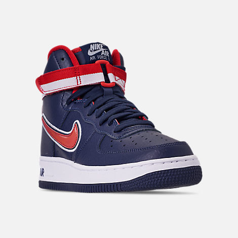 Three Quarter view of Boys' Big Kids' Nike Air Force 1 '07 High LV8 Sport Casual Shoes in Midnight Navy/University Red/White