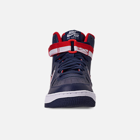Front view of Boys' Big Kids' Nike Air Force 1 '07 High LV8 Sport Casual Shoes in Midnight Navy/University Red/White