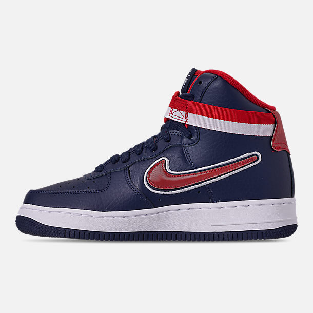 Left view of Boys' Big Kids' Nike Air Force 1 '07 High LV8 Sport Casual Shoes in Midnight Navy/University Red/White