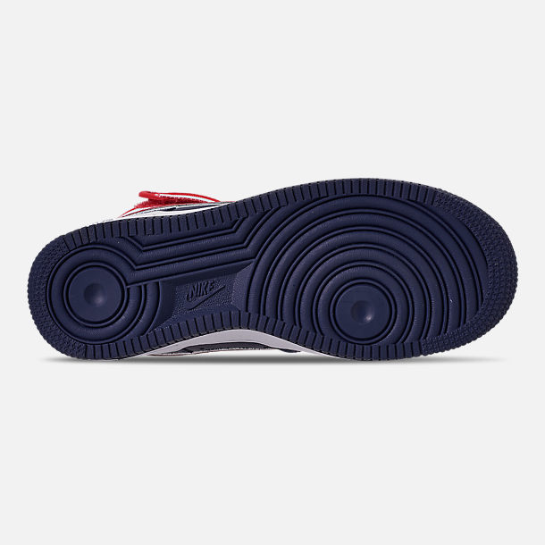 Bottom view of Boys' Big Kids' Nike Air Force 1 '07 High LV8 Sport Casual Shoes in Midnight Navy/University Red/White