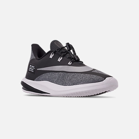 Three Quarter view of Boys' Big Kids' Nike Future Speed Shield Running Shoes in Black/Reflect Silver/Cool Grey/Vast