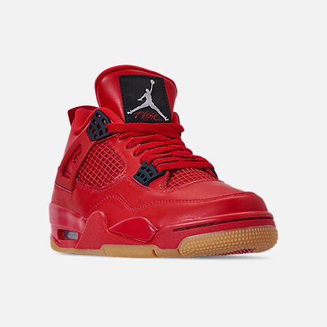 Three Quarter view of Women's Air Jordan Retro 4 NRG Basketball Shoes in Fire Red/Summit White/Black