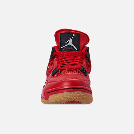 Front view of Women's Air Jordan Retro 4 NRG Basketball Shoes in Fire Red/Summit White/Black