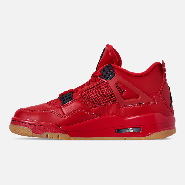 Left view of Women's Air Jordan Retro 4 NRG Basketball Shoes in Fire Red/Summit White/Black
