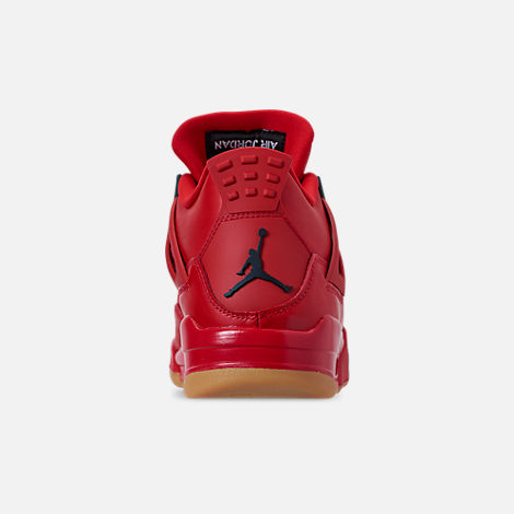 Back view of Women's Air Jordan Retro 4 NRG Basketball Shoes in Fire Red/Summit White/Black