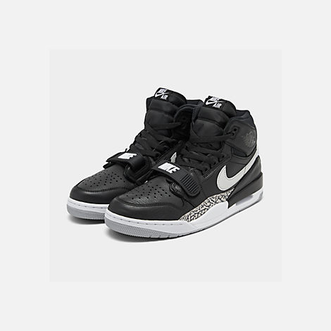 Three Quarter view of Men's Air Jordan Legacy 312 Off-Court Shoes in Black/White