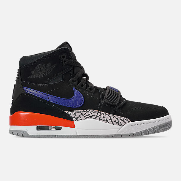 Right view of Men's Air Jordan Legacy 312 Off-Court Shoes in Black/Rush Blue/Brilliant Orange