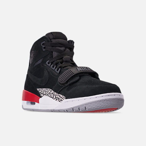 Three Quarter view of Men's Air Jordan Legacy 312 Off-Court Shoes in Black/Black/Varsity Red