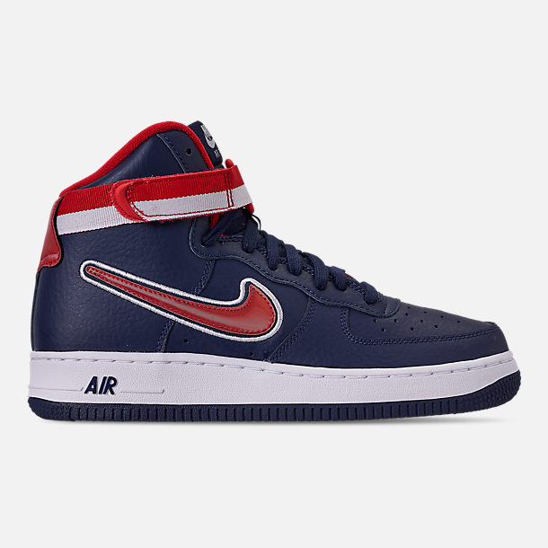 Right view of Men's Nike Air Force 1 '07 High LV8 Sport Casual Shoes in Midnight Navy/Red/White
