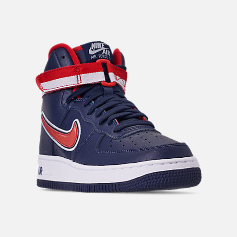 Three Quarter view of Men's Nike Air Force 1 '07 High LV8 Sport Casual Shoes in Midnight Navy/Red/White