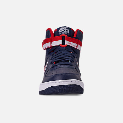 Front view of Men's Nike Air Force 1 '07 High LV8 Sport Casual Shoes in Midnight Navy/Red/White