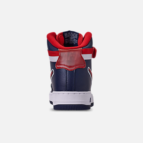 Back view of Men's Nike Air Force 1 '07 High LV8 Sport Casual Shoes in Midnight Navy/Red/White