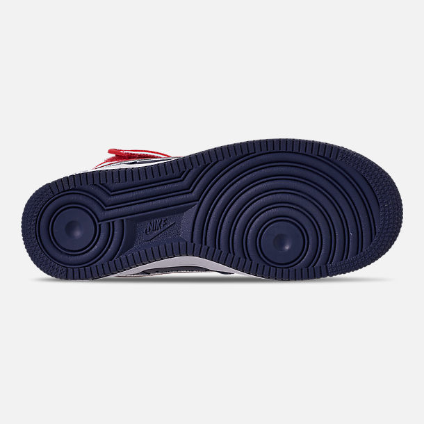 Bottom view of Men's Nike Air Force 1 '07 High LV8 Sport Casual Shoes in Midnight Navy/Red/White