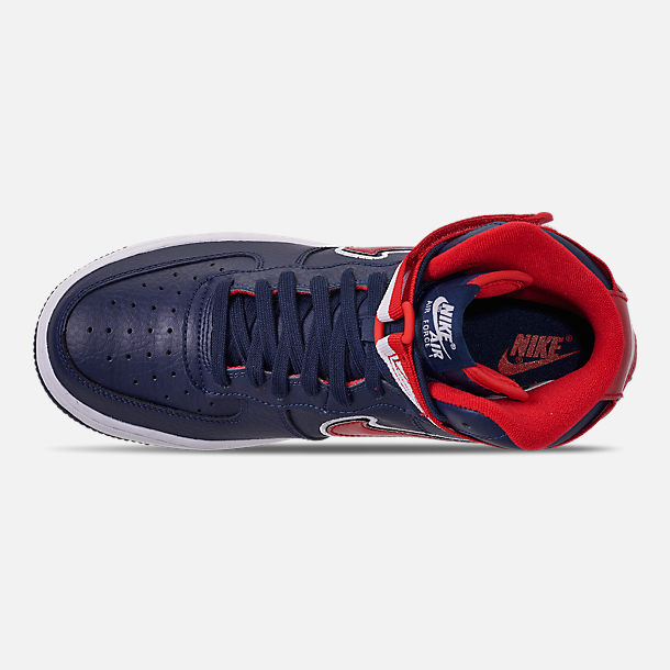 Top view of Men's Nike Air Force 1 '07 High LV8 Sport Casual Shoes in Midnight Navy/Red/White