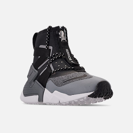 Three Quarter view of Boys' Big Kids' Nike Air Huarache Gripp Shield Casual Shoes in Atmosphere Grey/Black/Vast Grey