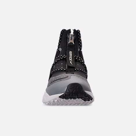 Front view of Boys' Big Kids' Nike Air Huarache Gripp Shield Casual Shoes in Atmosphere Grey/Black/Vast Grey