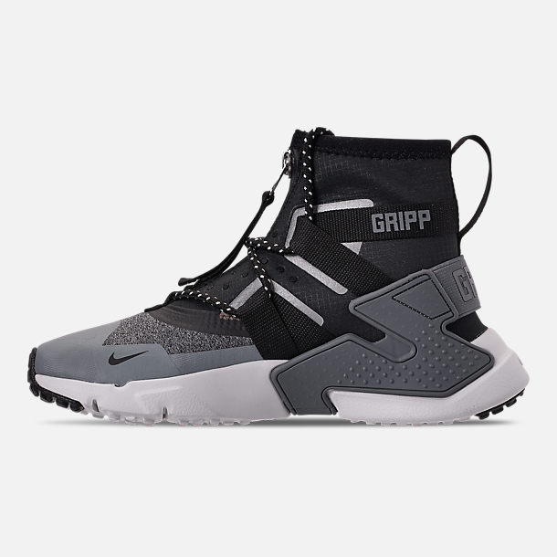 Left view of Boys' Big Kids' Nike Air Huarache Gripp Shield Casual Shoes in Atmosphere Grey/Black/Vast Grey