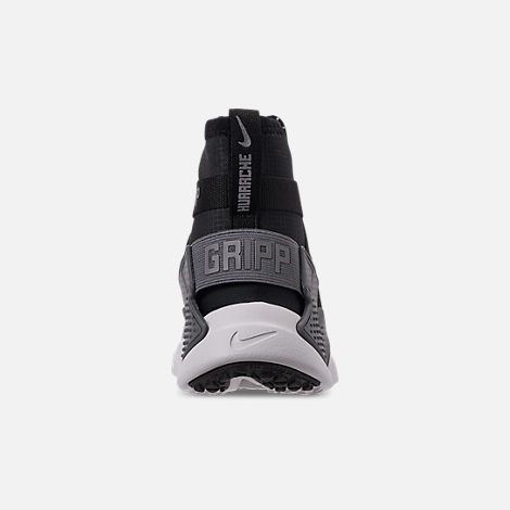 Back view of Boys' Big Kids' Nike Air Huarache Gripp Shield Casual Shoes in Atmosphere Grey/Black/Vast Grey