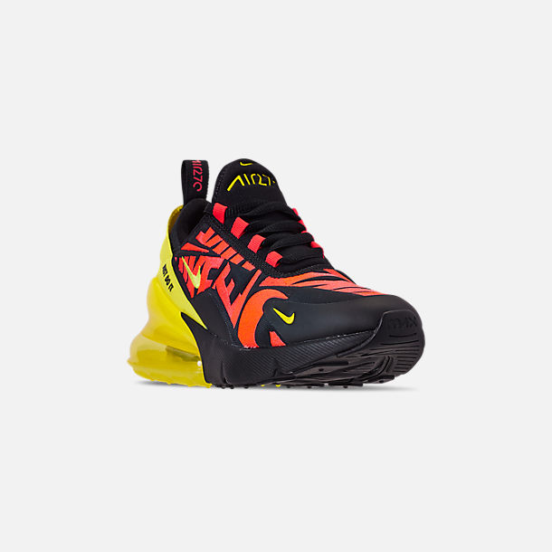 Three Quarter view of Boys' Big Kids' Nike Air Max 270 Embroidered JDI Casual Shoes in Black/Dynamic Yellow/Bright Crimson