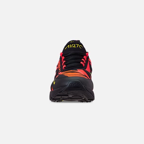 Front view of Boys' Big Kids' Nike Air Max 270 Embroidered JDI Casual Shoes in Black/Dynamic Yellow/Bright Crimson