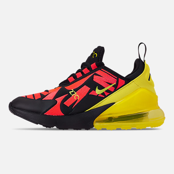 Left view of Boys' Big Kids' Nike Air Max 270 Embroidered JDI Casual Shoes in Black/Dynamic Yellow/Bright Crimson