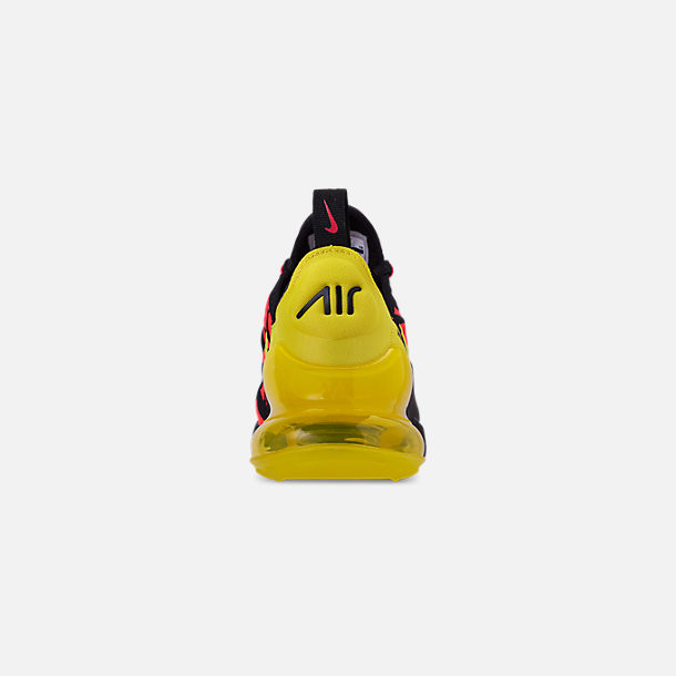Back view of Boys' Big Kids' Nike Air Max 270 Embroidered JDI Casual Shoes in Black/Dynamic Yellow/Bright Crimson