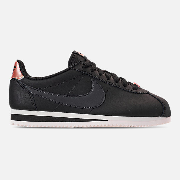 Right view of Women's Nike Classic Cortez Leather Metallic Casual Shoes in Black/Anthracite/Metallic Red Bronze