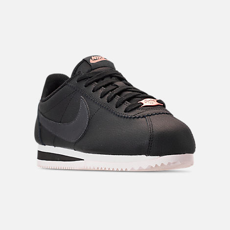 Three Quarter view of Women's Nike Classic Cortez Leather Metallic Casual Shoes in Black/Anthracite/Metallic Red Bronze