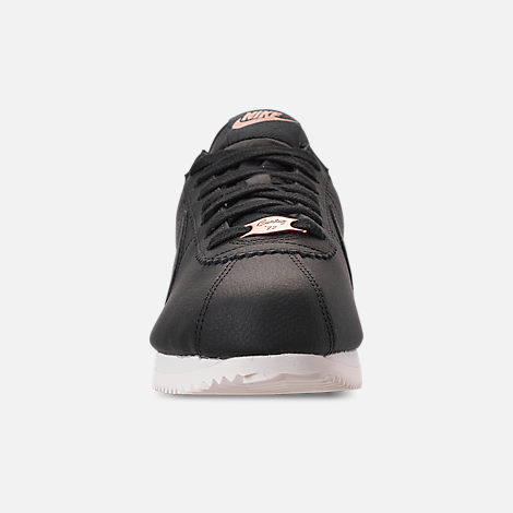 Front view of Women's Nike Classic Cortez Leather Metallic Casual Shoes in Black/Anthracite/Metallic Red Bronze