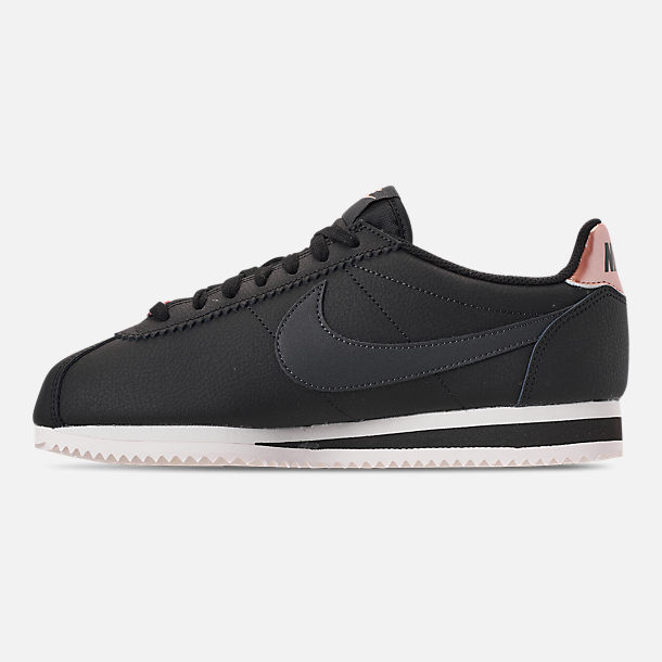 Left view of Women's Nike Classic Cortez Leather Metallic Casual Shoes in Black/Anthracite/Metallic Red Bronze