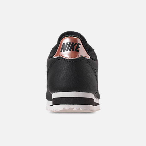 Back view of Women's Nike Classic Cortez Leather Metallic Casual Shoes in Black/Anthracite/Metallic Red Bronze