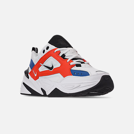 Three Quarter view of Men's Nike M2K Tekno Casual Shoes in Summit White/Black/Team Orange